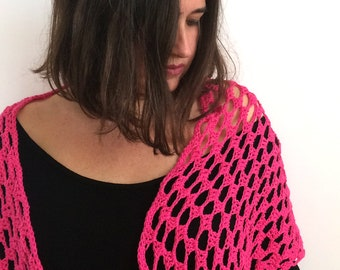 Crochet shawl / Spring Shawl / Summer Shawl / Cotton Shawl / Chal de algodón / Fucsia shawl / Rose Shawl / Chal color fucsia / Magenta shawl