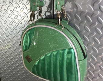 Baby Bopper • CUSTOM • Glitter Retro Handbag • Sparkle Vintage Style Vinyl Bag • Metal Flake Rockabilly Purse • Psychobilly • MADE in USA
