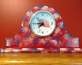 US Flag Clock - USA Flag Mantle Clock - Patriotic Desk Clock - Patriotic Shelf Clock - US Flag Gift - Flag Decor - Veterans Gift
