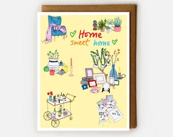 Housewarming Card, Blank Card, BFF Moving Card, Homeowner, Card for New Home, Wedding Card, New Apartment, Bar Cart, Cozy Home, Cute Card