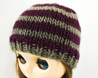 Arabella Blythe Hat knitting PATTERN - cute striped doll bobble hat toque knit cap - instant download - permission to sell finished objects