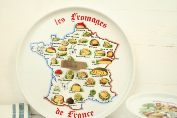 Vintage cheese platter and 6 plates \u2013 French cheese plates \u2013 map France \u2013 cheese lover -  sc 1 st  Etsy & Vintage cheese platter and 6 plates French cheese plates