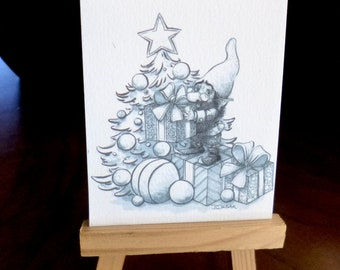 Original illustration matte print ACEO 3.5 x 2.5, home decor, collectible art, fantasy art, textured paper, gnome, One for you too