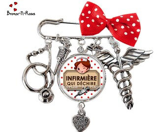 Nurse tearing cabochon polka dot gift red white silver metal pin