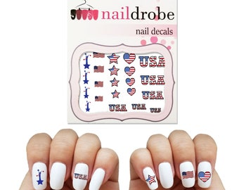 30 Patriotic USA Nail Decals (Fourth of July, Veteran's Day, Memorial Day)  (Waterslide Nail Decal)