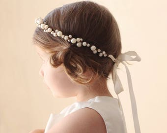 Flower girl crown, Pearl beaded hair crown, Ivory pearl wreath, Hair crown for flower girl, Toddler Photo Prop (12+ months)