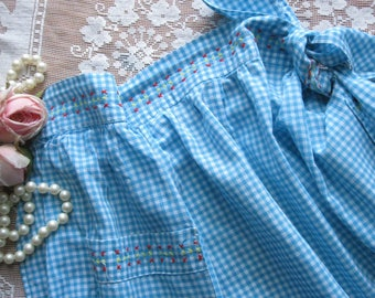 Apron Cross Stitched Turquoise Gingham Half Apron, Hostess Apron, Cottage Charm, by mailordervintage on etsy