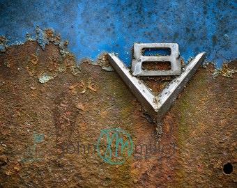 V8, Blue, Rural Decay,  Urban Decay, Abandoned,  Wall Decor, Home Decor, Fine art print, Fine art photography, Photography, Abandoned Car