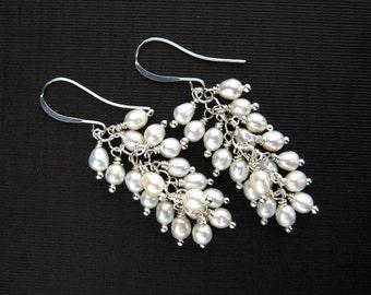 White Freshwater Pearl Cluster Earrings White Freshwater Pearl Earrings Pearl Bridal Earrings Pearl Wedding Earrings