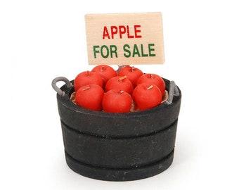 Miniature Bucket of Apples ~ Dollhouse Food ~ Diorama ~ Fairy Garden