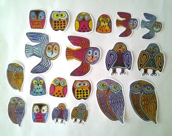 Colorful Owl Stickers, unique hand cut Art Stickers, owl sticker set