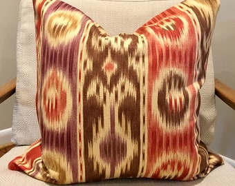 Brown, Red and Purple Ikat Pillow Cover
