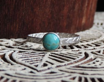Sterling Silver & Turquoise Stacking Ring   Phat Stax Collection - Chevron   Hammered Band, Genuine Engagement Ring, Size 8, Ready to Ship
