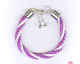 Kumihimo Alzheimer's Awareness Satin Cord Bracelet,Sterling Silver,Kumihimo Bracelet, Braided Alzheimer's Bracelet, Dementia  Jewelry