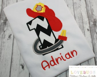 Custom Firefighter Hat and Hose Birthday Shirt  ~ Embroidered, Applique, Monogram ~ Custom Birthday Shirt!
