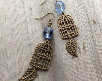 Bird Cage Earrings/Feather/Boho/Hippie