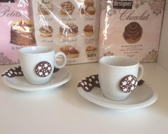 Set of coffee cups with pan decoration of stars