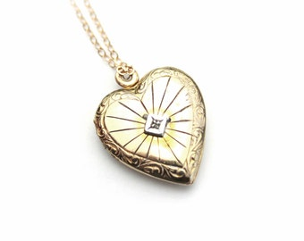 Art Deco Locket 1/20 12K Gold Filled Etched Heart / B1