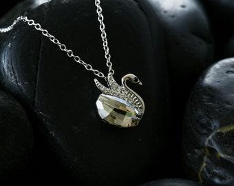 Rose Crystal Swan Pendant - Swarovski Crystals finished in beautiful rhodium