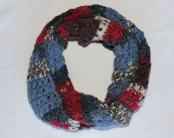 Red Blue White and Maroon Alpaca Blend Infinity Scarf