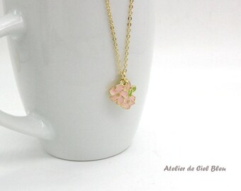 Cherry Blossom Necklace, Sakura Necklace, Pink Enamel Flower Necklace,  Gold Plated Flower Necklace, Flower Jewelry, Japanese Charm