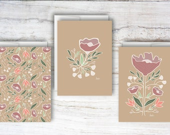 Blank Floral Note Card Set / Set of 3 Note Cards / Greeting Cards / Blank Card / Floral Cards / Card Set / Blank Card Set / Blank Note