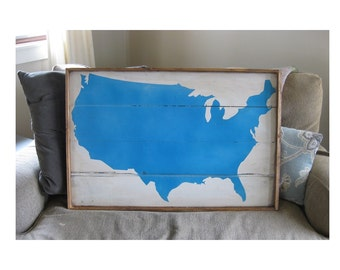 United States map framed on wood 20x30