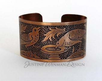 Copper Cuff Etched w/ Birdbath, Nature Scene, Birds Singing, Floral, Woman's Bracelet