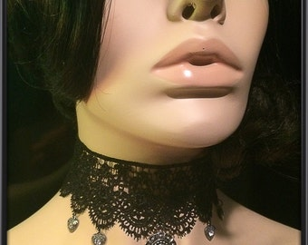 Gothic Lace Choker with Flower/Heart Charms and White Rhinestones
