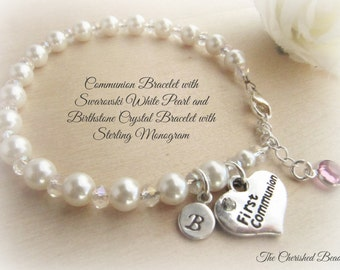 Communion Bracelet with White Swarovski Pearls, Crystals, Swarovski Birthstone Crystal and Sterling Monogram