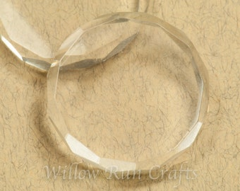 Clearance 20 Crystal Clear Glass Faceted Circles 1 inch (09-07-600)