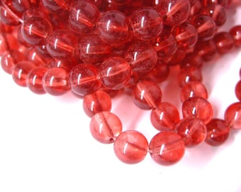 30pc 8mm Red Transparent Glass Beads-5521