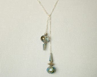 Blue glass Lariat necklace, Lariat necklace, Iridescent Blue, Sterling Silver