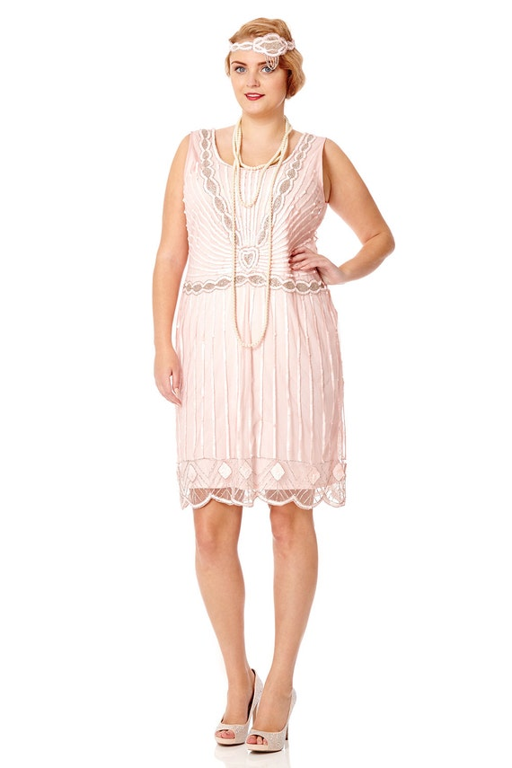 Plus Size Charleston Pink Vintage 1920s Inspired Flapper Dress