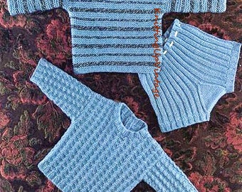 Baby Knitting Pattern pdf Baby Boy Jumpers and Shorts