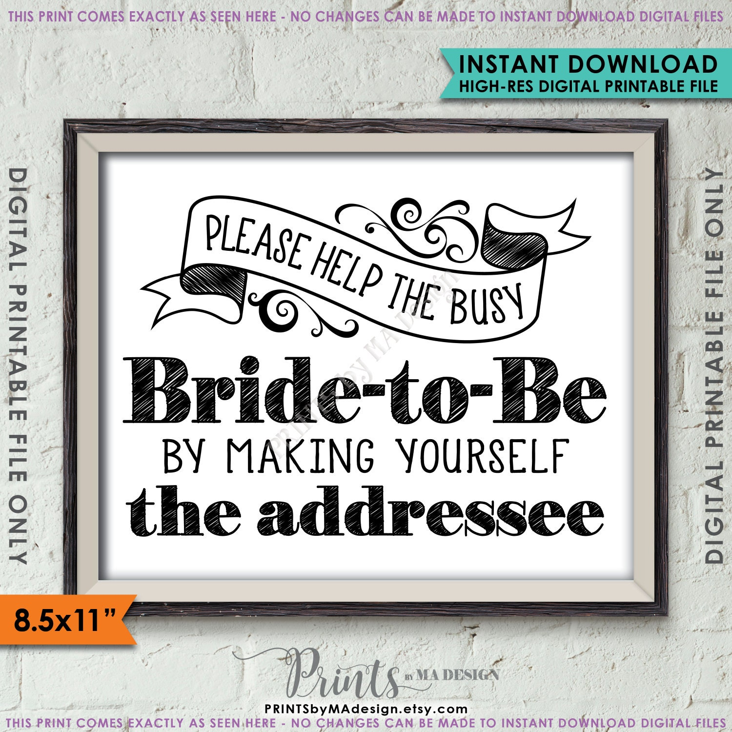 Address envelope bridal shower sign help the bride by addressing an address envelope bridal shower sign help the bride by addressing an envelope addresee black white 85x11 instant download printable altavistaventures Choice Image