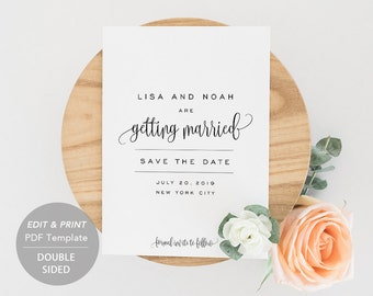 Printable Save-the-Date Template, Save the Date Invitation, DIY Wedding Card, Engagement Invite, PDF Instant Download Calligraphy #SPP013sd