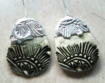 Ceramic Earrings Charms Pair with Decorative Tinwork - You Choose Metal Color - #a94