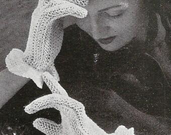 1948 Crisp White Gloves Vintage Crochet Pattern 053