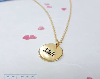 Personalised Initial Necklace, Initial Disc Necklace, Customize Initial Necklace, Personalised Circle Necklace, Customize Circle Necklace