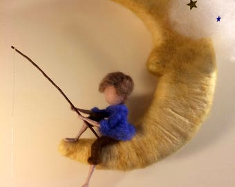 Needle felted  mobile, Waldorf inspired, Room Decoration,Waldorf inspired, The fishing boy in the moon, Boy and fish, Dream Works