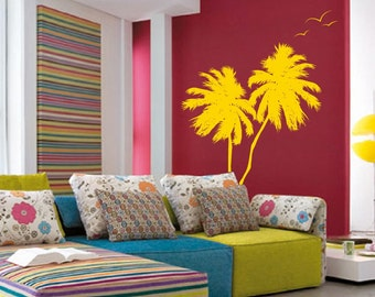 Palm Coconut Tree Wall Decal with seagull birds 2 Trees 1133 (7 feet tall)