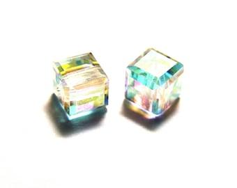 5x Swarovski 5601 Cube 4 mm - Crystal AB - Genuine Austrian Crystal