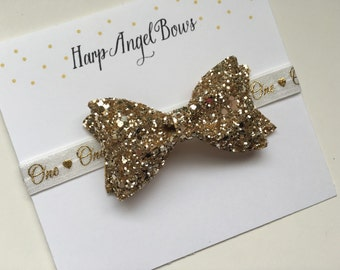 First One Year 1st Birthday Gold Glitter Sparkle Bow White Baby Headband