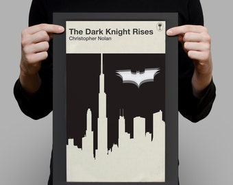 Batman Movie Poster The DARK KNIGHT RISES Film Art Christopher Nolan Penguin Books Classic Movie Print Ribba Size