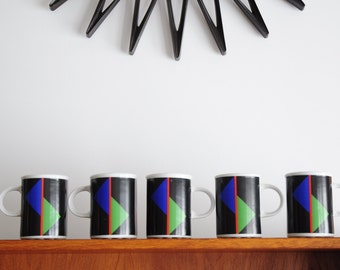 5 Cilou Zelkine designed mugs by Danesco Inc Montreal Canada/ Abstract / 1980s