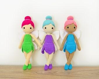 CROCHET PATTERN in English - Felicia the Fairy Doll - 11 in./28 cm. tall - Amigurumi Doll Crochet Toy - Instant PDF Download