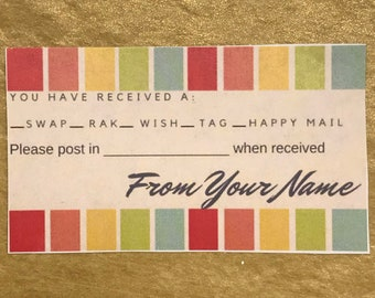 Happy Mail Insert card for swaps, raks, wishes, tags, planner groups/Pesonalized/Fillable
