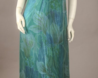 1960's Tropical Print Silk Chiffon Gown