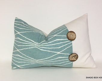 Teal & ivory lumbar Button pillow cover.  coconut button. Robert Allen print with natural home decor accent, throw pillow